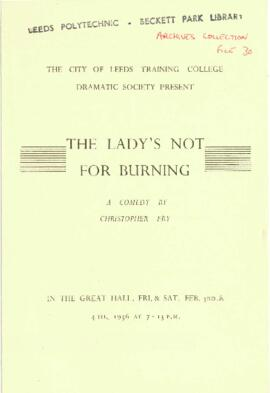 The Lady's not for Burning, 3-4 February 1956