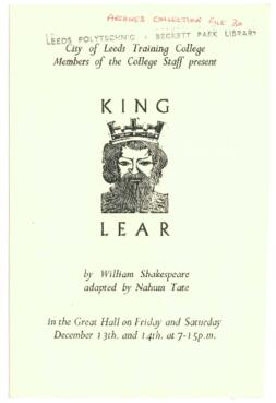 King Lear, 13-14 December [No year].
