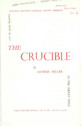 The Crucible, 16-17 February 1962. [Includes cast photograph].