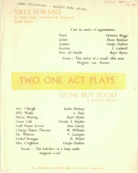 Two One Act Plays, [No date] [Handbill].