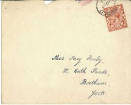 Letter in envelope dated Tuesday 18th from Alice to Mary.