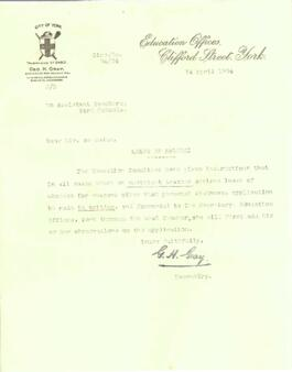 Letter dated 14 April 1934 from G. H. Gray to Assistant Teachers York Schools.