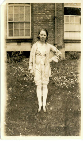 Sports' Day. May 28th 1924. Single woman outside hostel.