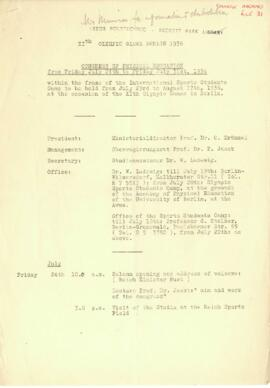 XIth Olympic Games Berlin 1936. Congress of Physical Education. Programme of events. 25 May 1936.
