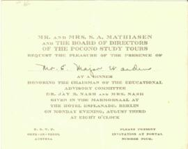 Mr. and Mrs. S. A. Mathiasen invitation to Mr E. Major.