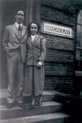 Kathleen Dickenson with future husband 1947