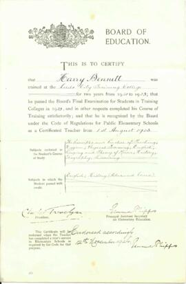 Board of Education Teaching Certificate for Harry Bennett. Dated 1 August 1923