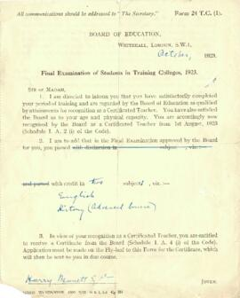 Board of Education Final Examination of Students in Training Colleges, 1923. Harry Bennett Esq. F...