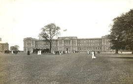 Education Block with band on lawn.