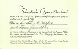 Invitation. Der Schwedische Gymnastikverband. 8 August 1936
