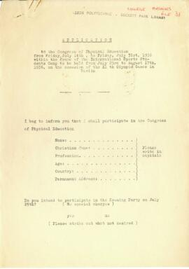 Application form to the congress of Physical Education