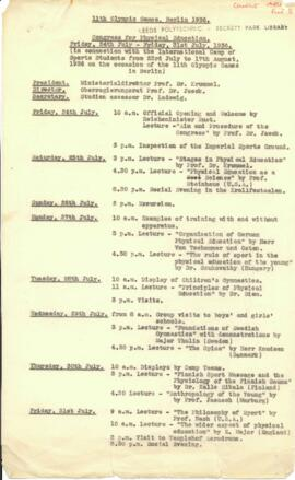 11th Olympic Games, Berlin 1936. Congress for Physical Education. Itinerary
