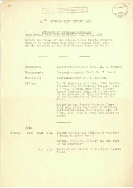 XIth Olympic Games Berlin 1936. Congress of Physical Education. Itinerary