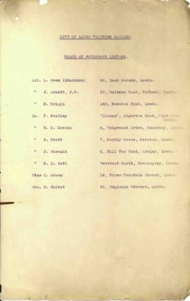 City of Leeds Training College. Board of Governors 1927-28