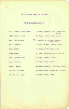 City of Leeds Training College. House Committee 1927-28