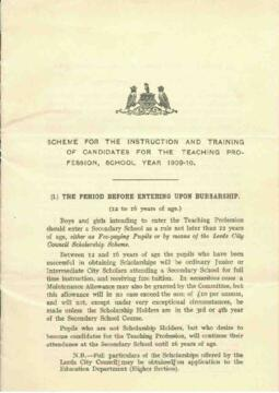 Scheme for the Instruction and Training of Candidates for the Teaching Profession, School Year 1909-10