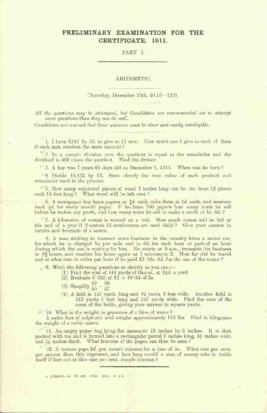 Preliminary Examination for the Certificate, 1911. Part 1. Arithmetic