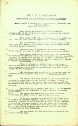 City of Leeds Training College. Instructions for the Guidance of Tutors and Matrons. Women's...