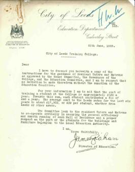 Unaddressed letter from James Graham regarding The City of Leeds Training College, 25 June 1925