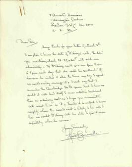Letter from Howard Somerville, dated 11 March 1933
