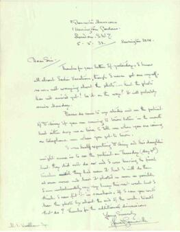 Letter from Howard Somerville, dated 5 May 1933