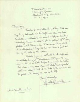 Letter from Howard Somerville, dated 15 May 1933