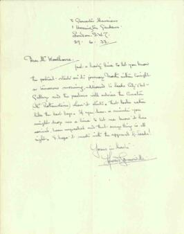Letter from Howard Somerville, dated 29 June 1933