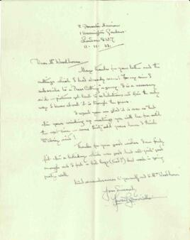 Letter from Howard Somerville, dated 11 November 1933