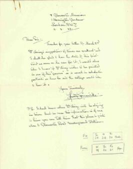 Letter from Howard Somerville, dated 4 March 1933