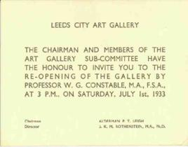 Invitation to reopening of Leeds City Art Gallery, dated 1 July 1933