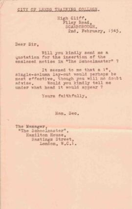 Letter to The Schoolmaster, dated 2 February 1945