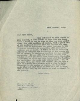 Letter to Miss Milne.
