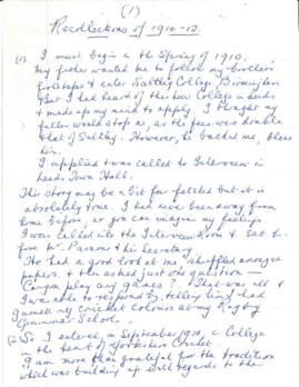 """Recollections of 1910-12"" handwritten memoir written by Thomas Halliwell"