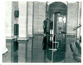 Main Building entrance, wet floor.