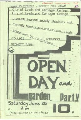 City of Leeds and Carnegie College Open Day and Garden Party. 26 June 1976.