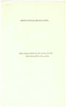 First Annual Report of the Warden for the year ending August 31st 1934.