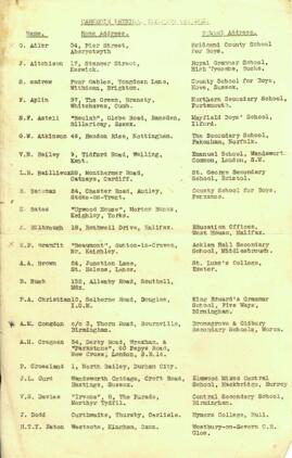 Alphabetical list of Carnegie students Session 1936-37