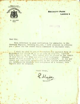 Letter from E. Major dated 18 February 1936