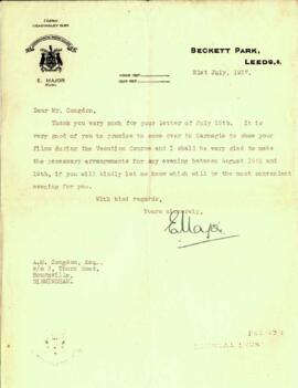 Letter from E. Major to Mr. Congdon dated 21 July 1937
