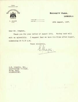 Letter from E. Major to Mr. Congdon dated 13 August 1937