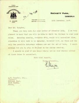 Letter from E. Major to Mr. Congdon dated 11 November 1937