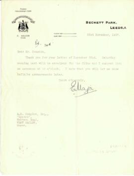 Letter from E. Major to Mr. Congdon dated 23 November 1937