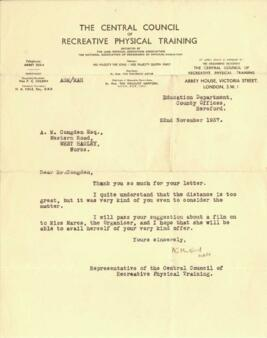Letter from the Central Council of Recreative Physical Training to Mr Congdon dated 22 November 1937