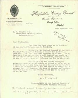 Letter from Herefordshire County Council to Mr. Congdon dated 13 November 1937