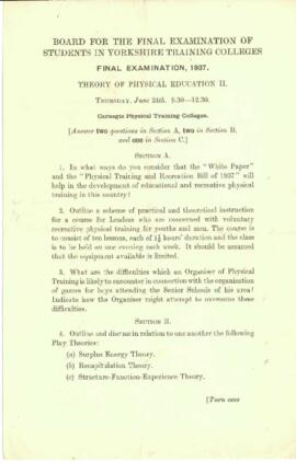 Final Examination 1937, Theory of Physical Education II