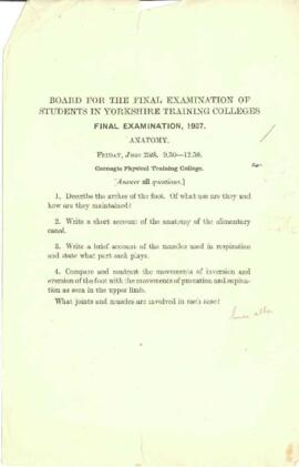 Final Examination 1937, Anatomy