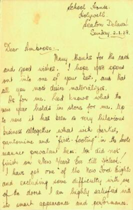 Letter from Jack to Ambrose dated Sunday 2 January 1938