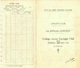 City of Leeds Training College Athletics Club 3rd Annual Contest scorecard